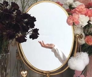 flowers, mirror, and aesthetic image