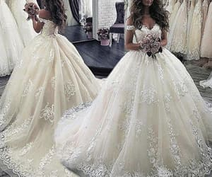 lace wedding dress, champagne wedding dress, and wedding ball gown image
