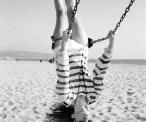 girl, beach, and swing image