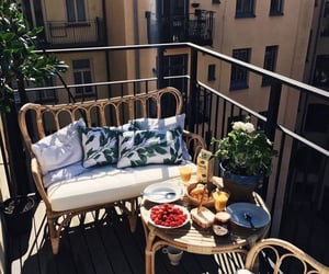 breakfast, food, and balcony image