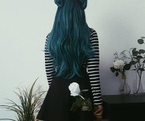blue hair, long hair, and haircolor image