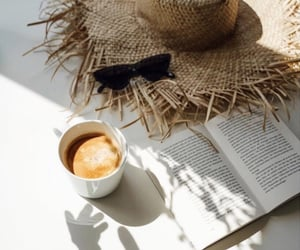 book, coffee, and hat image