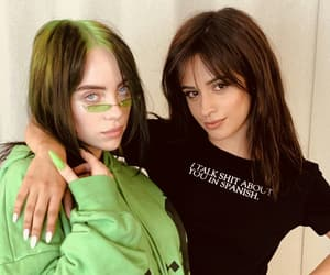 camila cabello, billie eilish, and green image
