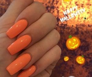 nails, orange, and Halloween image