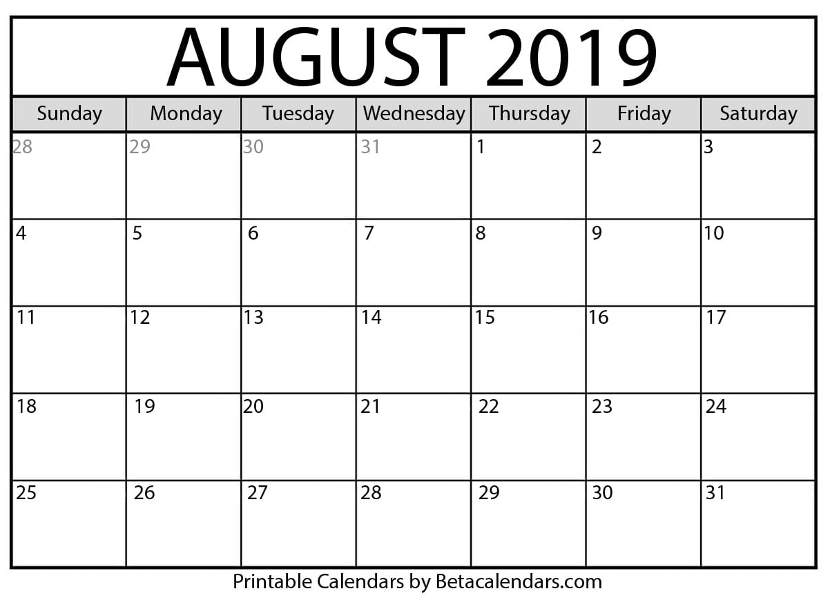 image relating to August Calendar Printable titled Blank August 2019 Calendar Printable upon We Centre It
