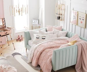 bed, grey, and bedroom image
