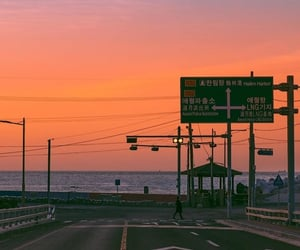 korea, sunset, and sky image