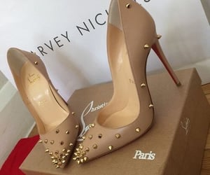 brown, heels, and louboutin image