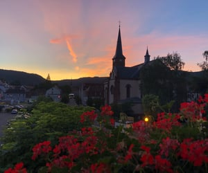 church, city, and flowers image