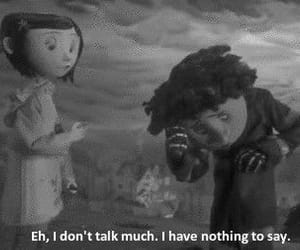 sad, black and white, and coraline image