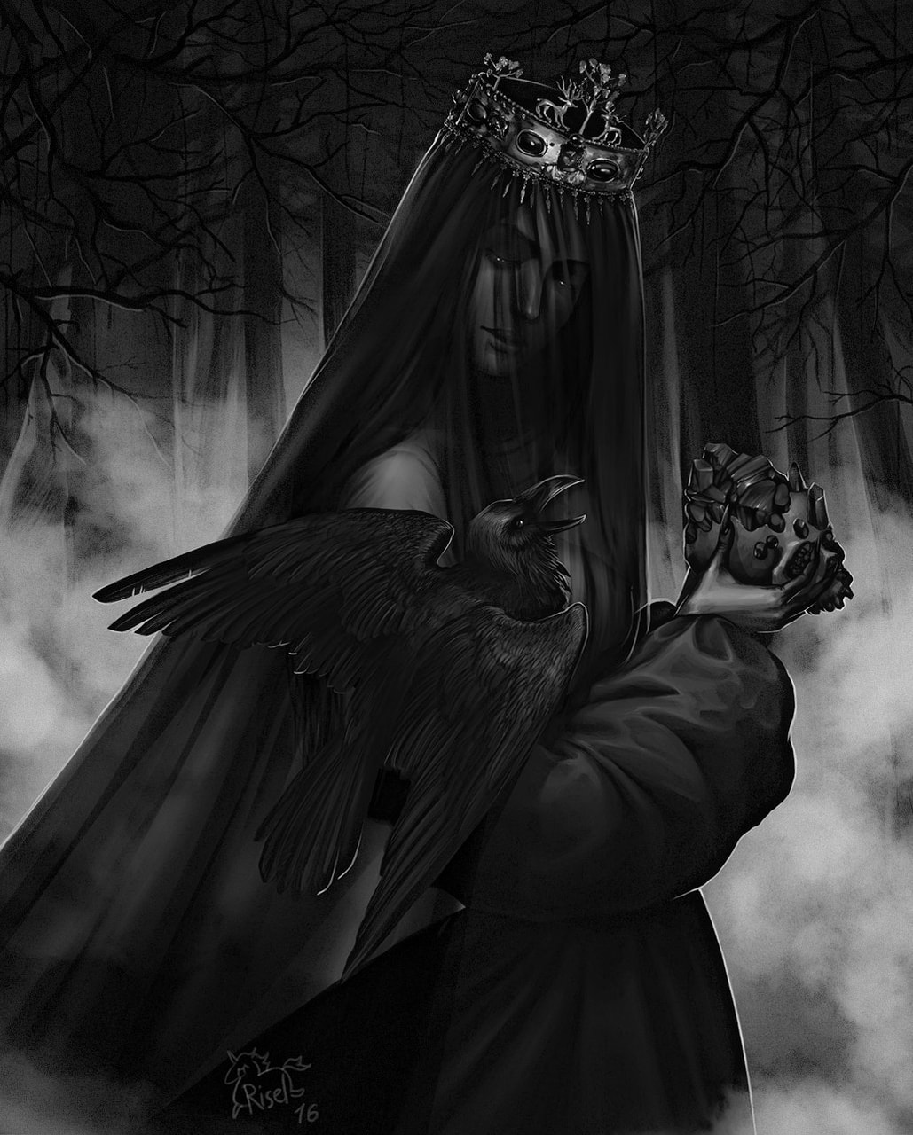black, crow, and wicca image