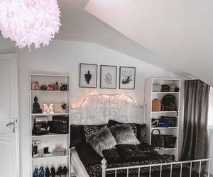 bed, bedroom, and black and white image