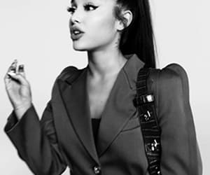 black and white, gif, and ariana grande image