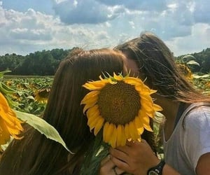 lesbian, love, and sunflower image