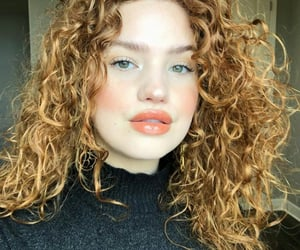 black sweater, curls, and curly hair image