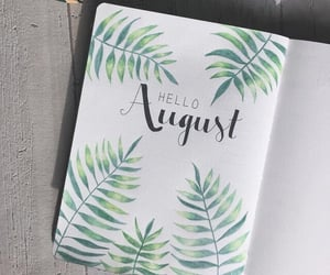 August, title, and bullet journal image