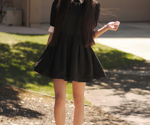 fashion, long hair, and shoes image