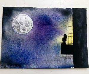 art, night, and watercolour image