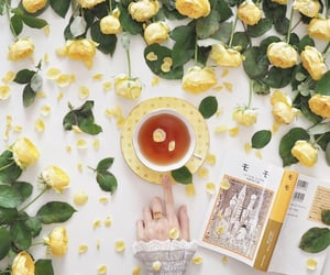 book, cup of tea, and flowers image