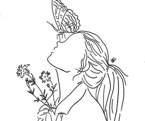 flowers, girl, and butterfly image