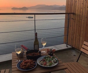 food, dinner, and sunset image