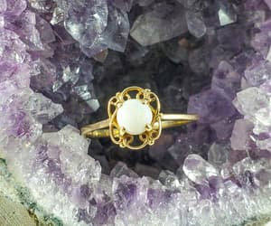 1940s, etsy, and 10k gold opal ring image