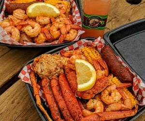 corn, seafood, and crab legs image
