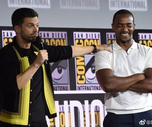 bucky, anthony mackie, and comic con image