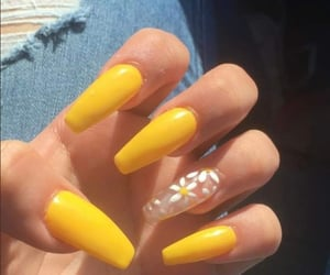 fashion, yellow nails, and flawless image