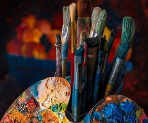 Brushes and painting image