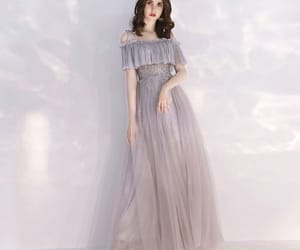 girl, long dress, and tulle dress image