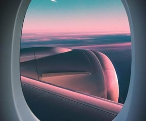 moon, sky, and airplane image