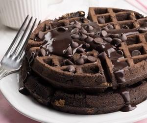 chocolate, food, and waffle image