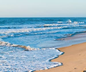 blue, sand, and ocean image