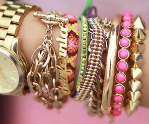 bracelet, pink, and watch image