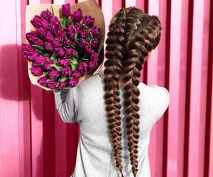 flowers, hair, and bouquet image