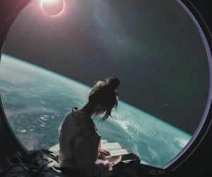 space, girl, and book image