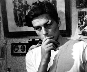Alain Delon, boy, and black and white image