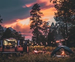 camping, couple, and goals image