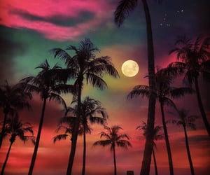 moon, beach, and sky image