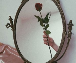 mirror, vintage, and flowers image