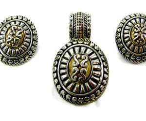 earrings, gift for her, and antiqued gold image