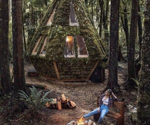 cabane, camping, and fire image