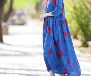 blue dress, prom dress, and linen tunic dress image