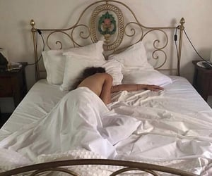 bed, white, and aesthetic image