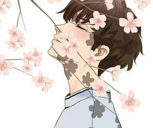 anime, flowers, and sakura image