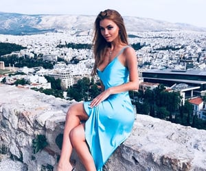 blue, blue dress, and blue outfit image