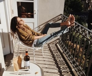 balcony, girl, and relax image