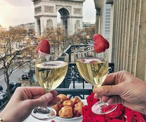 paris, champagne, and strawberry image