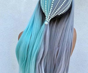 blue, pearls, and hair image